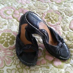 BORN Black Leather Mules Size 9